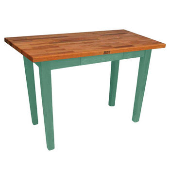 "John Boos Oak Table Boos Block, 48""W x 25""D x 35""H, Without Shelf, Basil"