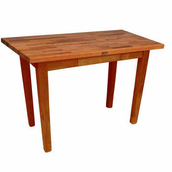 "John Boos Oak Table Boos Block, 48""W x 25""D x 35""H, Without Shelf, Warm Cherry Stain"