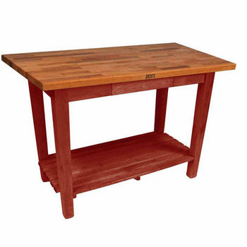 Barn Red Oak Table w/ 1 Shelf
