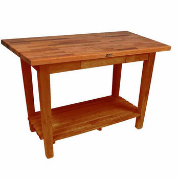 Warm Cherry Stain Oak Table w/ 1 Shelf