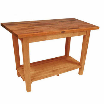 Natural Maple Oak Table w/ 1 Shelf