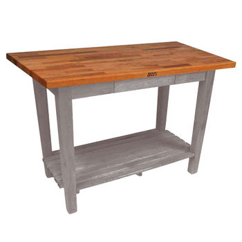 Useful Gray Stain Oak Table w/ 1 Shelf