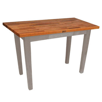 "John Boos Oak Table Boos Block, 48""W x 25""D x 35""H, Without Shelf, Useful Gray Stain"