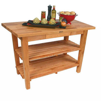 Natural Maple Oak Table w/ 2 Shelves
