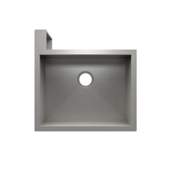 "JULIEN SocialCorner Collection Undermount Kitchen Sink with Flat Apron, Left Corner in Brushed Stainless Steel, 25-1/2"" W x 25-1/2"" D x 11-3/4"" H"