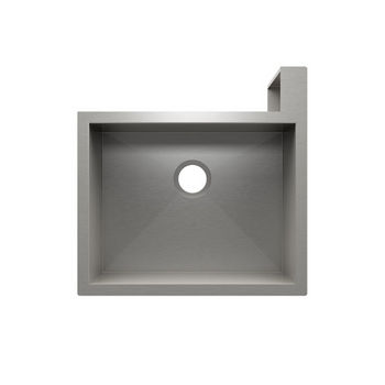 "JULIEN SocialCorner Collection Undermount Kitchen Sink with Flat Apron, Right Corner in Brushed Stainless Steel, 25-1/2"" W x 25-1/2"" D x 11-3/4"" H"
