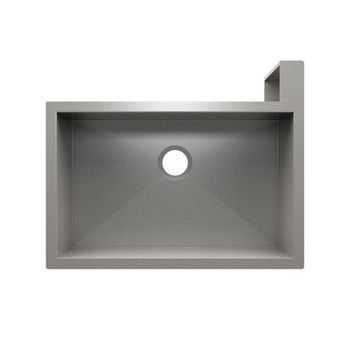 "JULIEN SocialCorner Collection Undermount Kitchen Sink with Flat Apron, Right Corner in Brushed Stainless Steel, 31-1/2"" W x 25-1/2"" D x 11-3/4"" H"