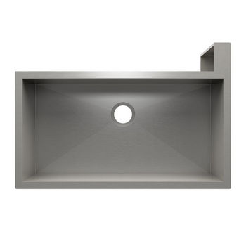 "JULIEN SocialCorner Collection Undermount Kitchen Sink with Flat Apron, Right Corner in Brushed Stainless Steel, 37-1/2"" W x 25-1/2"" D x 11-3/4"" H"