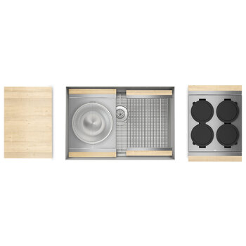 Home Refinements SmartStation 28-1/2'' W Single Sink Set with Stainless Steel Undermount Sink and Maple Accessories