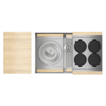 Home Refinements SmartStation 31-1/2'' W Single Sink Set with Stainless Steel Undermount Sink and Maple Accessories