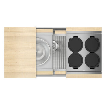 Home Refinements SmartStation 37-1/2'' W Single Sink Set with Stainless Steel Undermount Sink and Maple Accessories