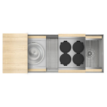Home Refinements SmartStation 49-1/2'' W Single Sink Set with Stainless Steel Undermount Sink and Maple Accessories