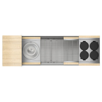 Home Refinements SmartStation 61-1/2'' W Single Sink Set with Stainless Steel Undermount Sink and Maple Accessories