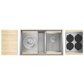 Home Refinements SmartStation Double Sink Set with Stainless Steel Undermount Sink and Maple Accessories