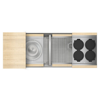 Home Refinements SmartStation 50/50 Double Sink Set with Stainless Steel Undermount Sink and Maple Accessories