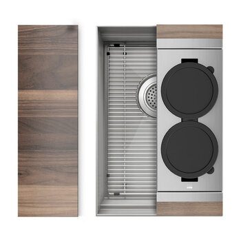 Home Refinements SmartStation 13-1/2'' W Single Sink Set with Stainless Steel Undermount Sink and Walnut Accessories