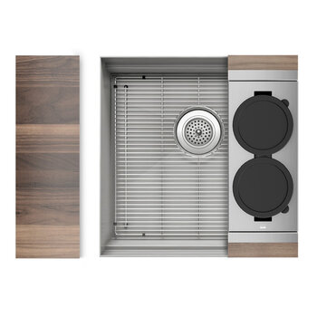 Home Refinements SmartStation 19-1/2'' W Single Sink Set with Stainless Steel Undermount Sink and Walnut Accessories