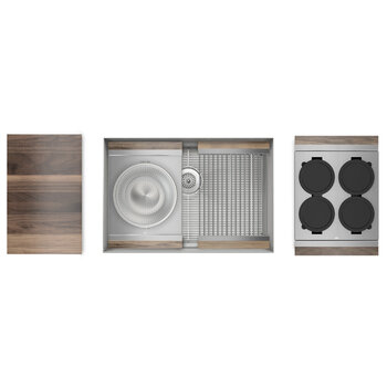 Home Refinements SmartStation 28-1/2'' W Single Sink Set with Stainless Steel Undermount Sink and Walnut Accessories