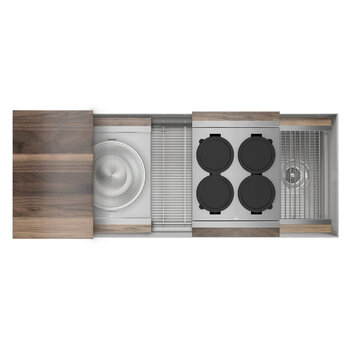 Home Refinements SmartStation 49-1/2'' W Single Sink Set with Stainless Steel Undermount Sink and Walnut Accessories