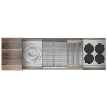 Home Refinements SmartStation 61-1/2'' W Single Sink Set with Stainless Steel Undermount Sink and Walnut Accessories