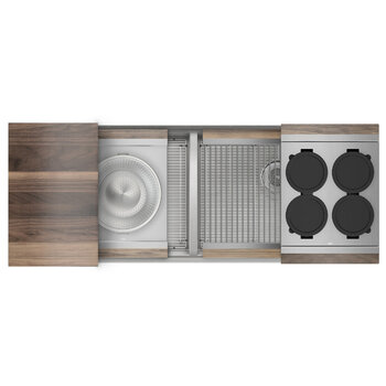 Home Refinements SmartStation 50/50 Double Sink Set with Stainless Steel Undermount Sink and Walnut Accessories