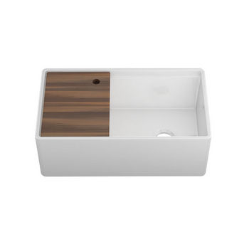 """JULIEN Fira Collection Single Undermount Kitchen Sink w/ Ledge, Reversible Apron and Cutting Board in White, 32-3/4"""" W x 19"""" D x 11-1/2"""" H"""
