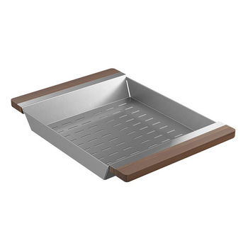 "JULIEN Smartstation Collection Colander with Walnut Handles for Fira Collection Kitchen Sink in Brushed Stainless Steel, 12"" W x 17-3/8"" D x 2-1/4"" H"