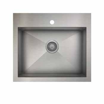 25'' kitchen single sink dualmount