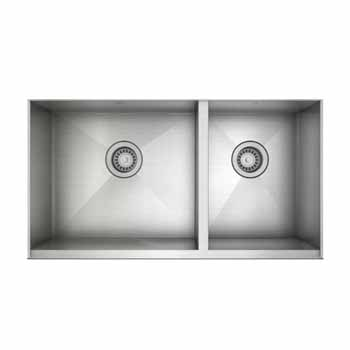 """JULIEN ProInox H0 Collection Undermount Double Bowl Kitchen Sink in Stainless Steel, 34""""W x 18-1/2""""D x 8""""H"""