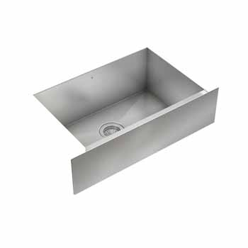 "JULIEN ProInox H0 Collection 28"" Undermount with Apron Front Single Bowl Kitchen Sink in Stainless Steel Finish"