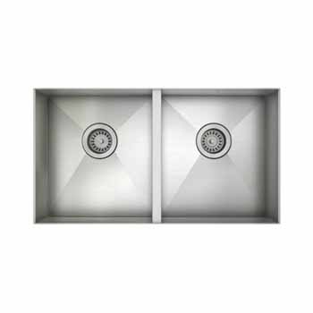 "JULIEN ProInox H0 Collection ADA Undermount Double Bowl Kitchen Sink in Stainless Steel, 31""W x 18""D x 5-1/2""H"