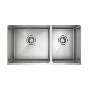 """JULIEN ProInox H75 Collection Undermount with Apron Front, Double Bowl Kitchen Sink in Stainless Steel, 34""""W x 18-1/2D x 8""""H"""