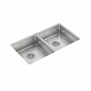 "JULIEN ProInox H75 Collection ADA Undermount Equal Double Bowl Kitchen Sink in Stainless Steel, 31""W x 18""D x 5-1/2""H"