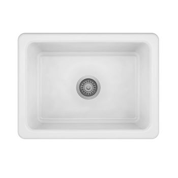 JULIEN ProTerra M125 Collection Fireclay Farmhouse Sink with Single Bowl, Glossy White, 24'' W x 18-1/8'' D x 9-7/8'' H