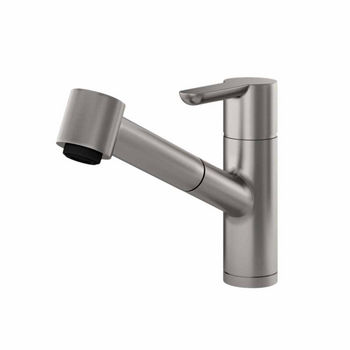 JULIEN Source Contemporary Kitchen Faucet with Pull-Down Sprayhead in Brushed Platinum