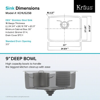"25"" Sink Dimensions"