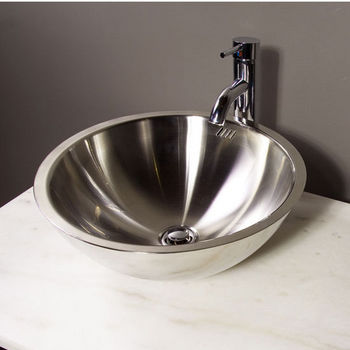 Cantrio Koncepts Stainless Steel Vessel Bathroom Sink 16 1 4 D X 6 3 4 H 18 Gauge