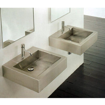Cantrio Koncepts Stainless Steel Square Vessel Bathroom Sink 17 5 8 W X D 4 7 H 18 Gauge