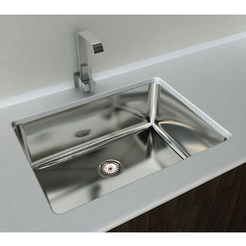 """Cantrio Koncepts Single Basin Under-Mount Sink, 18-Gauge 304-Series Stainless Steel (18/10), 10mm Radius with Strainer Drain, 32""""W x 18""""D x 10""""H"""
