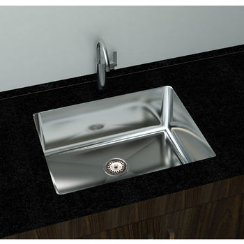 "Cantrio Koncepts Single Basin Under-Mount Sink, 18-Gauge 304-Series Stainless Steel (18/10), 10mm Radius with Strainer Drain, 25""W x 18""D x 10""H"