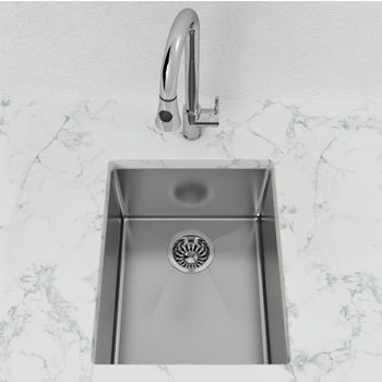 "Cantrio Koncepts Single Basin Undermount Bar Sink, 0mm Radius, Stainless Steel, 18 Gauge, High Luster Finish, 15-3/4""W x 13-1/4""D x 8""H"