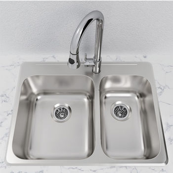 Cantrio Koncepts Stainless Steel 1-1/2 Bowl Overmount Kitchen Sink