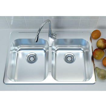 Cantrio Koncepts Stainless Steel Double Bowl Overmount Kitchen Sink