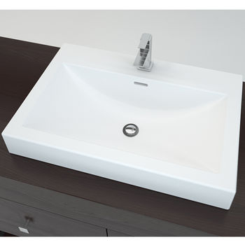 Surface Mount Sink : Cantrio Koncepts Solid Surface Countertop Sink with Deck Mount Hole ...