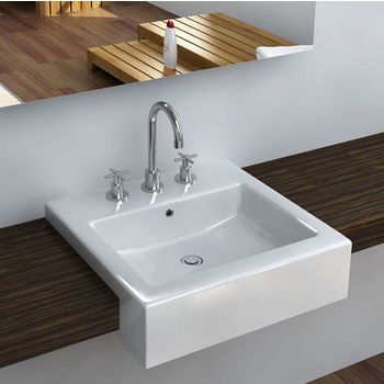 Cantrio Koncepts Vitreous China Semi Cassa Bathroom Sink with Overflow  amp  Three Holes  20 1 4 quot W x 19 1 2 quot D x 6 1 2 quot H. Bathroom Sinks By Cantrio Koncepts   Kitchensource com