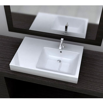 """Cantrio Koncepts Vitreous China Drop-In Sink with Overflow, 29-1/2""""W x 20""""D x 7""""H"""