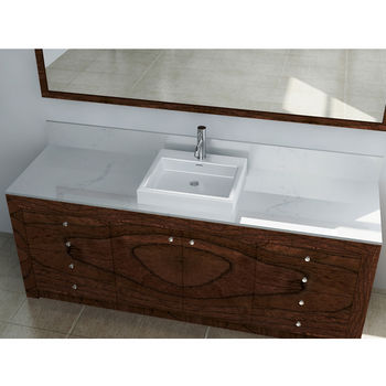 """Cantrio Koncepts Vitreous China Countertop Sink with Knockout Holes and Overflow, 19""""W x 17-5/16""""D x 4-1/2""""H"""