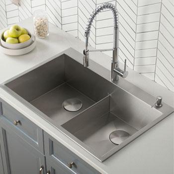Kraus 33 W X 22 D X 9 H Pax Drop In Topmount 16 Gauge Zero Radius Double Bowl 2 Hole Stainless Steel Kitchen Sink Kitchensource Com