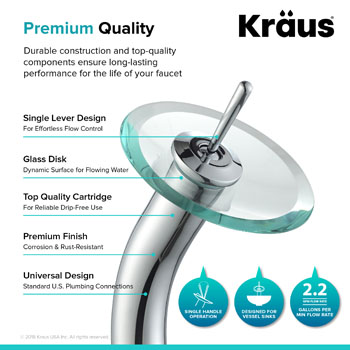 "Kraus Crystal Clear Glass Vessel Sink and Chrome Waterfall Faucet Set, 16-1/2"" Dia. x 5-1/2"" H"