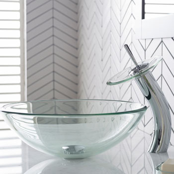 Kraus Clear Glass Vessel Sink and Waterfall Faucet Set, Chrome